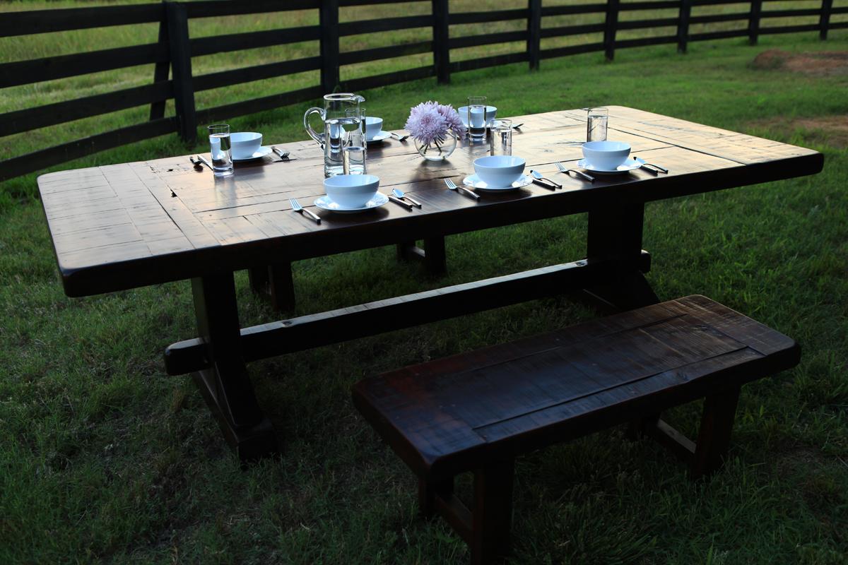Emerson trestle custom rustic farm table atlanta for The emerson