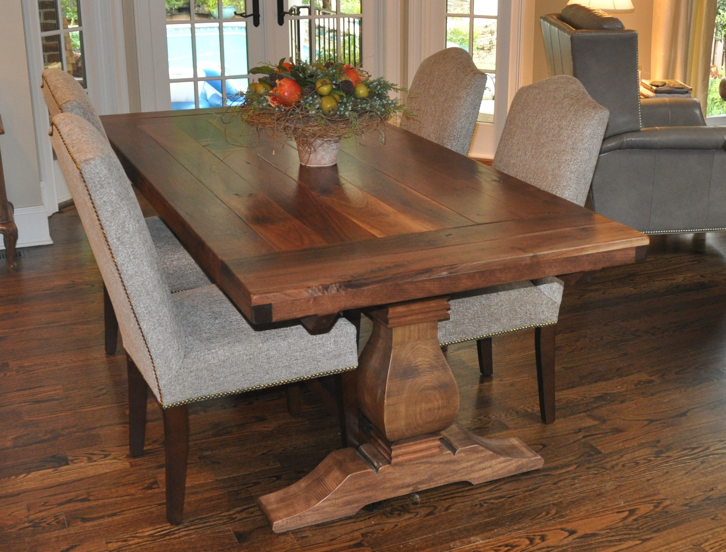 Rustic weston trestle farmhouse table atlanta ga denver Farm dining table