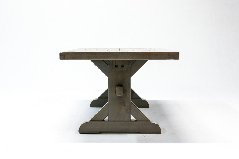 Rustic X Style Trestle Farm Table Atlanta Ga Denver Co Rustic Trades Furniture