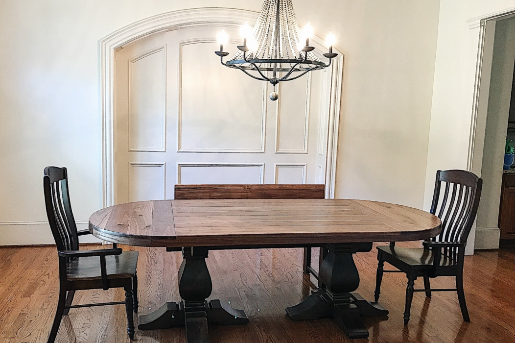 rustic farm double weston pedestal dining table and chairs