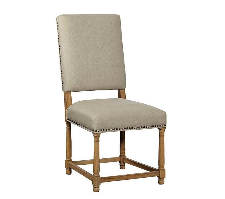 Taupe Linen Side Chair