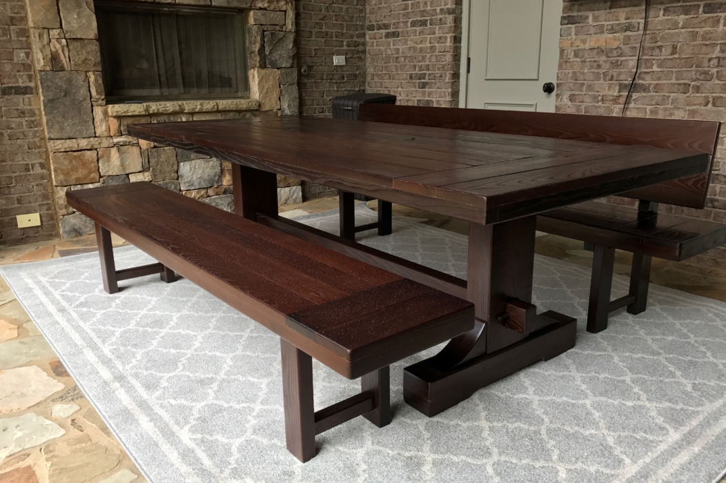 outdoor farm trestle table