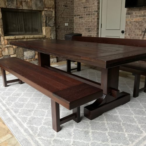 Outdoor Trestle Table Dark