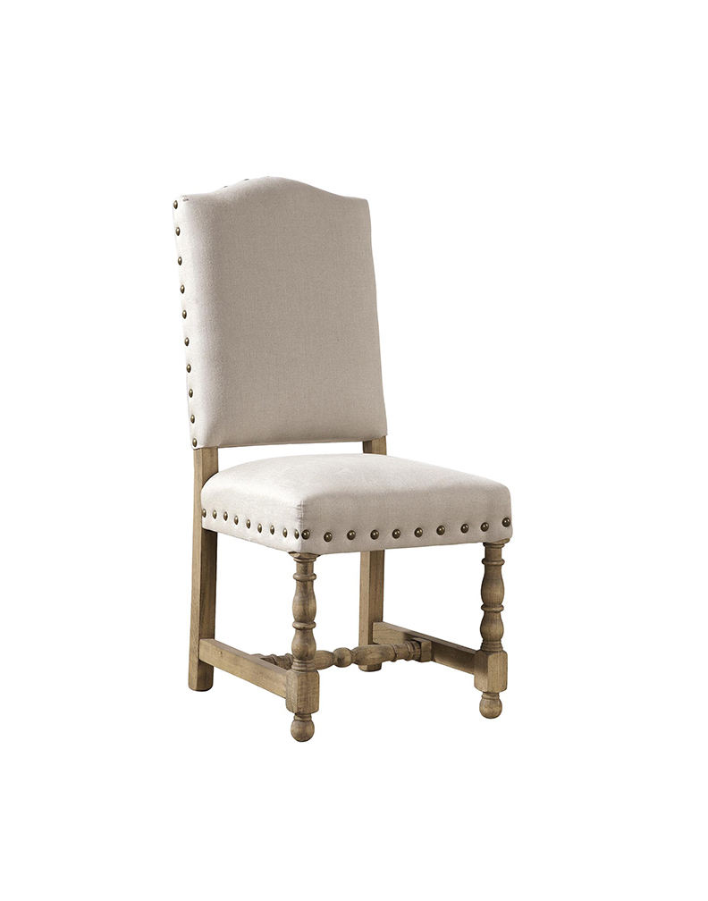 Linen nailhead chair rustic trades furniture - Nailhead dining room chairs ...