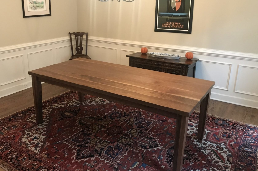 rustic walnut parsons dining table