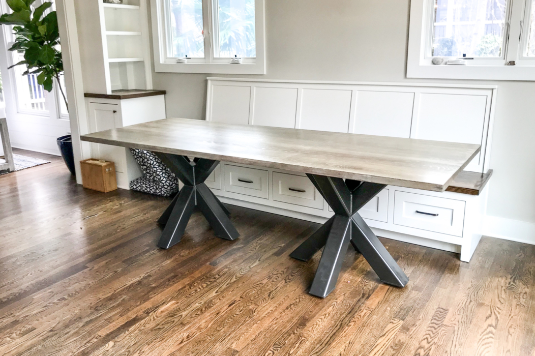 braylon double asterisk dining table with a built in banquette