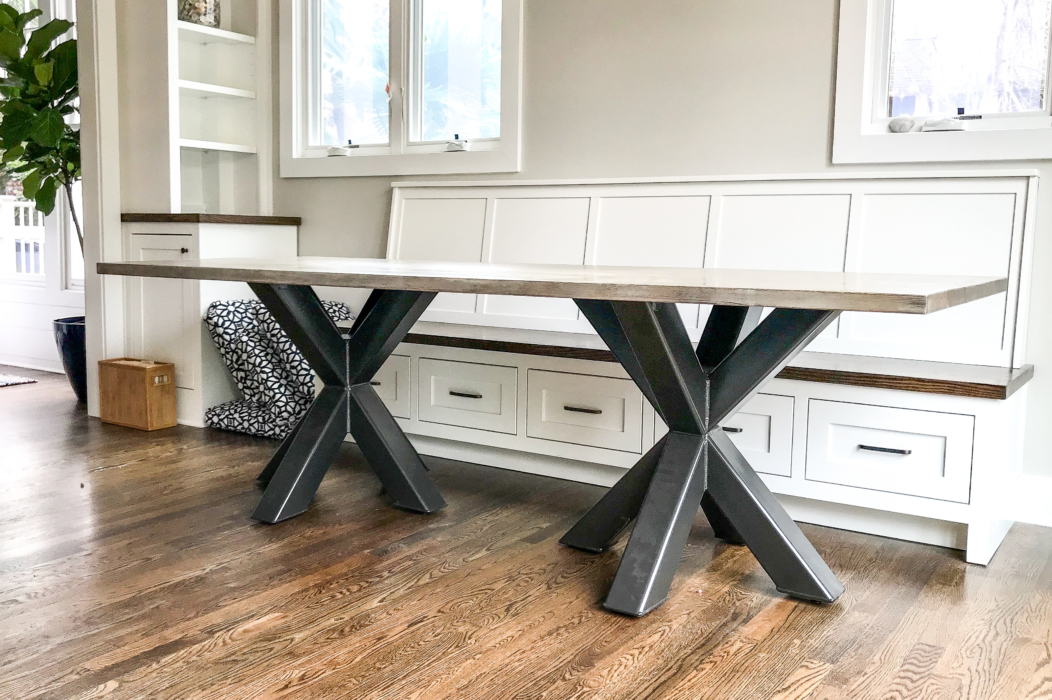 double asterisk kitchen table with banquette seating